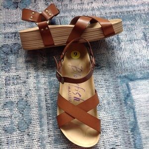 Blowfish Malibu Makara Brown Harness Wedge Sandal